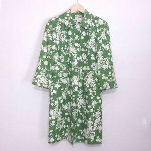 Ann Taylor LOFT Green Floral Print Long Blazer